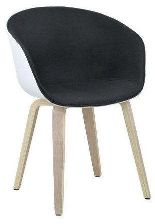 Cadeira Elegance Branco/Preto Wood em tecido