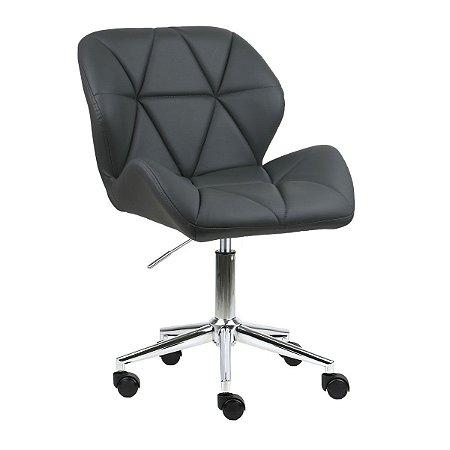Cadeira Australia Cinza Escuro em PU Base Estrela Rodízio