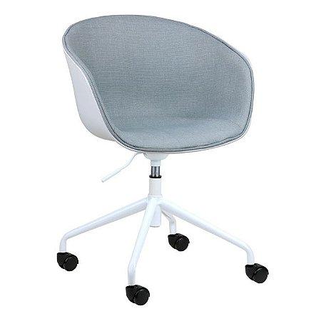 Cadeira Elegance Office Branco/Cinza Claro em PP/tecido