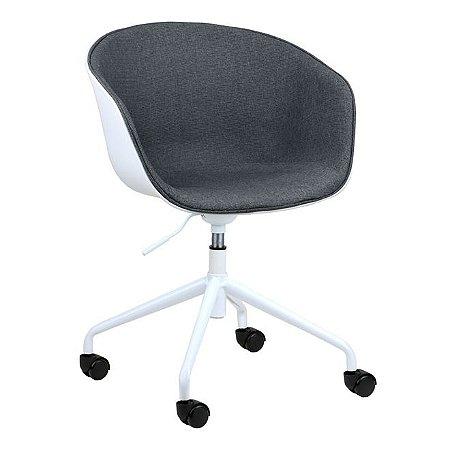 Cadeira Elegance Office Branco/Cinza Escuro em PP/tecido