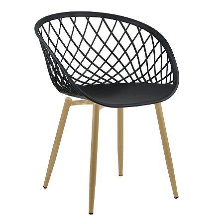 Cadeira Sidera Charles Eames Cadeira Ocean Fixa Pés Palito - PRETA