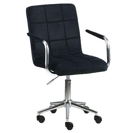 Cadeira Canadá Preto em Suede Base Estrela Cromada com Rodízio