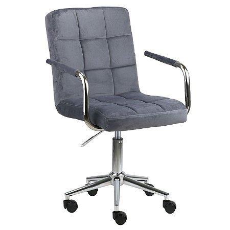 Cadeira Canadá Cinza Claro em Suede Base Estrela Cromada com Rodízio