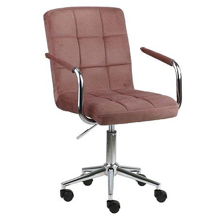 Cadeira Canadá Rose em Suede Base Estrela Cromada com Rodízio