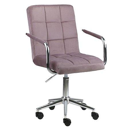 Cadeira Canadá Rosa Envelhecido em Suede Base Estrela Cromada com Rodízio