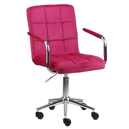 Cadeira Canadá Pink Escuro em Suede Base Estrela Cromada com Rodízio