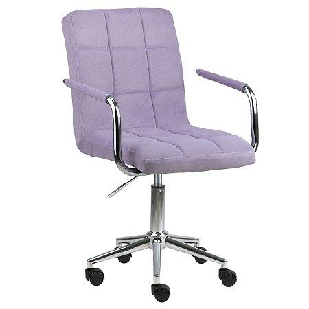 Cadeira Canadá Lilás em Suede Base Estrela Cromada com Rodízio