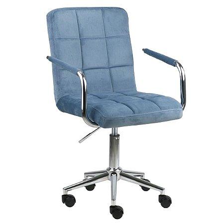 Cadeira Canadá Azul Real em Suede Base Estrela Cromada com Rodízio