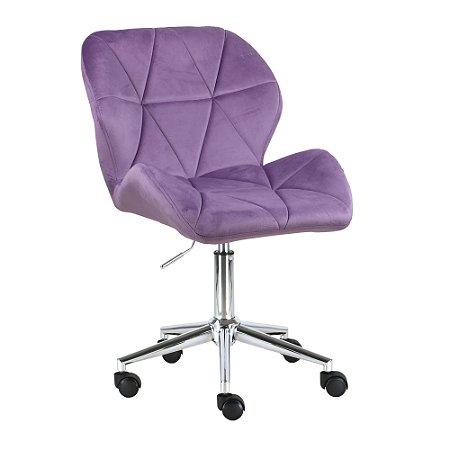 Cadeira Austrália Lilás em Suede Base Estrela Rodízio