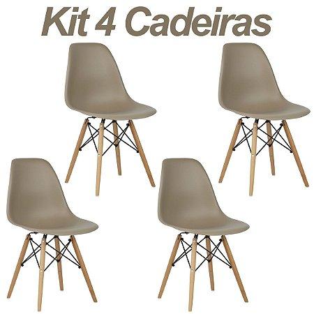 Kit 4 Cadeiras Nude Charles Eames Wood Dsw em PP