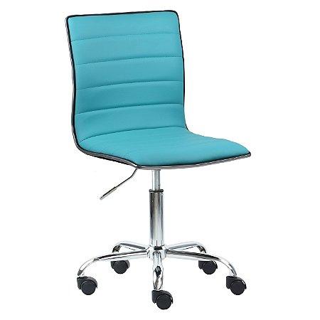 Cadeira Monaco Azul Tiffany em Couro Ecológico e Base Rodízio
