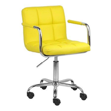 Cadeira Turquia Amarela em PU e Base Aranha Cromada