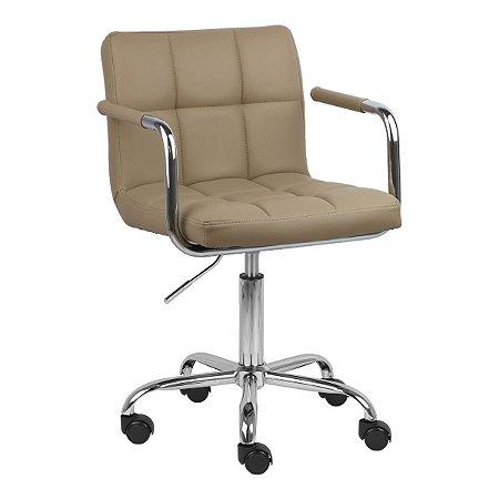 Cadeira Turquia Nude em PU e Base Aranha Cromada