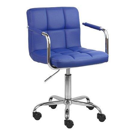 Cadeira Turquia Azul Safira em PU e Base Aranha Cromada