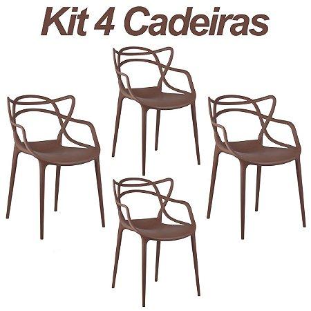 Kit 4 Cadeiras Masters Allegra Café em Polipropileno