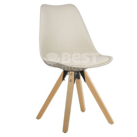 Cadeira Bege Charles Eames Modern Soft em PP/PU