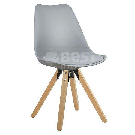 Cadeira Cinza Claro Charles Eames Modern Soft em PP/PU