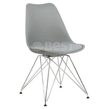 Cadeira Cinza Claro Charles Eames Eiffel Soft em PP/PU
