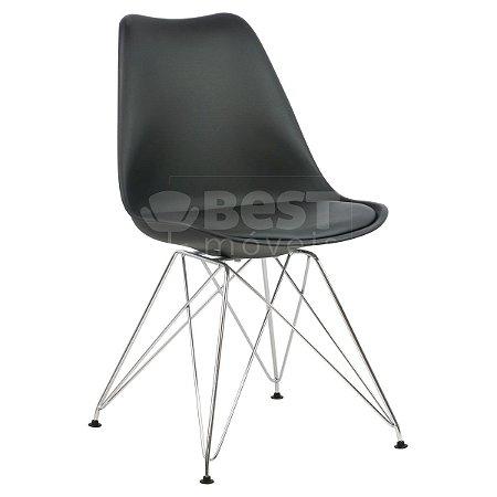 Cadeira Preta Charles Eames Eiffel Soft em PP/PU
