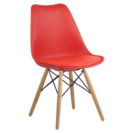 Cadeira Vermelha Charles Eames Dsw Soft em PP/PU