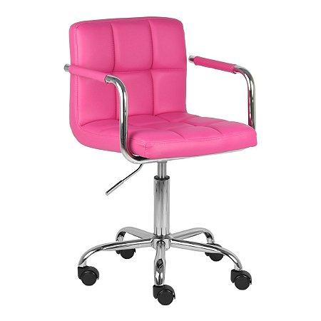 Cadeira Turquia Pink em PU e Base Aranha Cromada