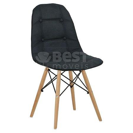 Cadeira Preta Botonê Dsw Charles Eames em PU Cowboy