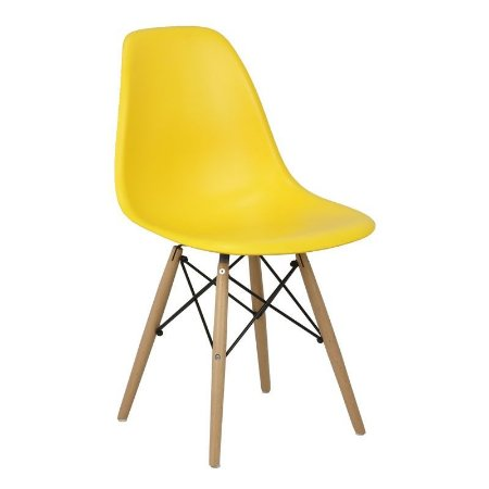 Cadeira Amarela Charles Eames Wood Dsw em PP