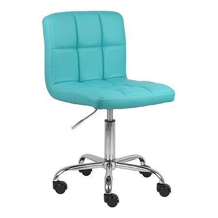 Cadeira Noruega Azul Tiffany em PU Base Rodízio