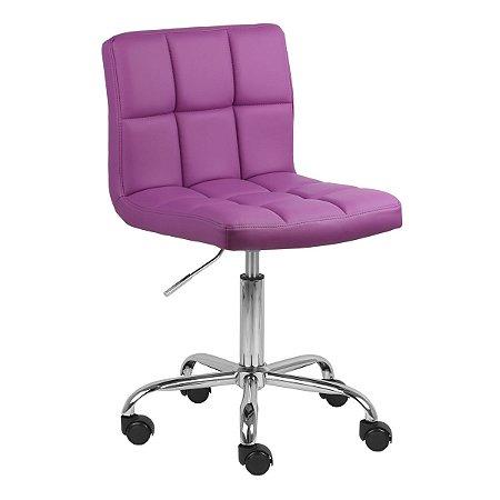 Cadeira Noruega Roxo em PU Base Rodízio