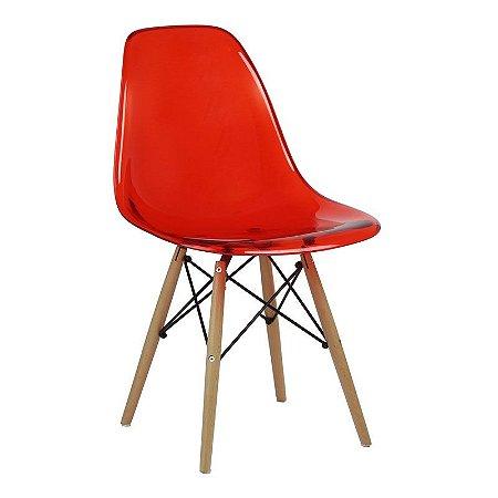 Cadeira New Vermelha em PC Base Madeira