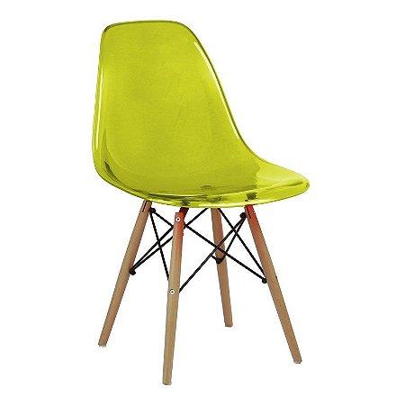 Cadeira New Amarela em PC Base Madeira