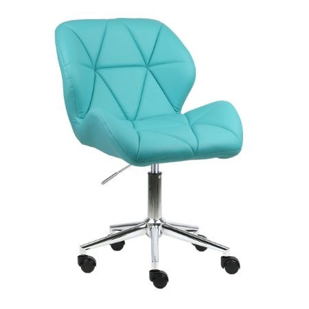 Cadeira Australia Azul Tiffany em PU Base Estrela Rodízio