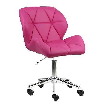 Cadeira Australia Pink em PU Base Estrela Rodízio