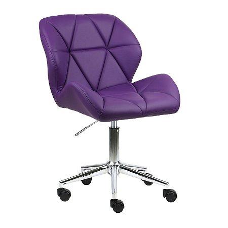 Cadeira Australia Roxo em PU Base Estrela Rodízio