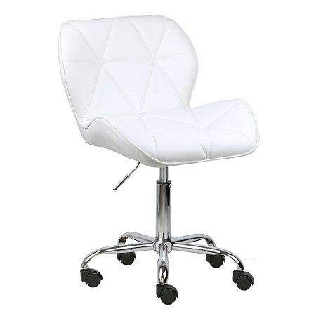 Cadeira Moscou Branco em PU base rodizios