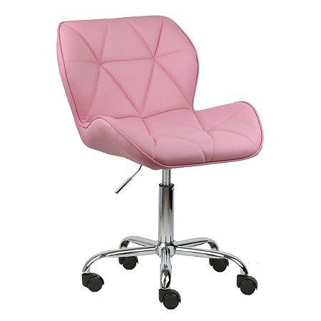 Cadeira Moscou Rosa em PU base rodizios