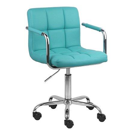 Cadeira Turquia Azul Tiffany em Couro Ecológico