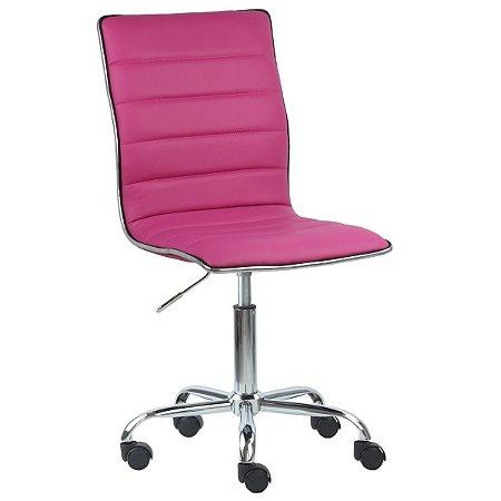 Cadeira Monaco Pink em Couro Ecológico e Base Rodízio