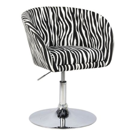 Poltrona Bélgica Estampa Zebra Base Disco
