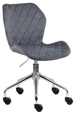Cadeira Belize Cinza Claro em Suede Base Rodízio