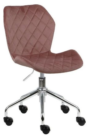 Cadeira Belize Rosé em Suede Base Rodízio