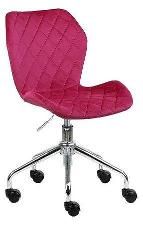 Cadeira Belize Pink Escuro em Suede Base Rodízio