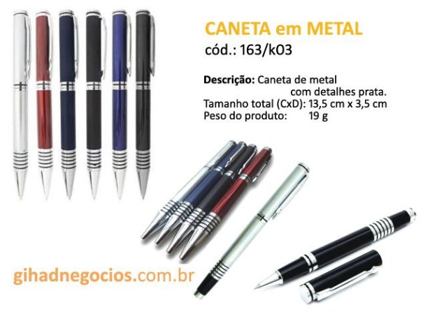 Caneta em METAL 11799  163K03 -  OUTROS MODELOS