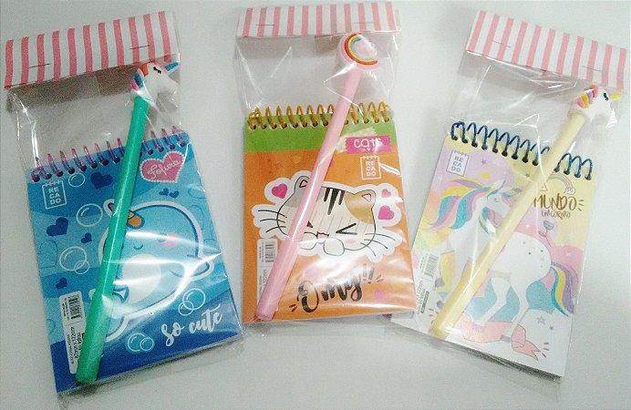 Mini Caderneta Fofa com caneta gel