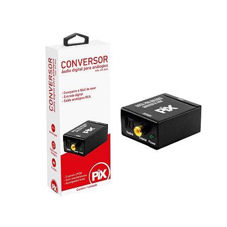 Conversor Áudio Digital Ótico Toslink Para Rca Analógico - Pix 075-0860