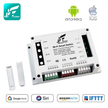 Interruptor Wi-Fi 4 Canais 10a App Tuya - Jwcom SA-4CH
