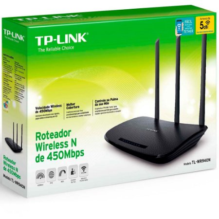 Roteador wireless Tp-Link 450mbps 4 portas TL-WR940N