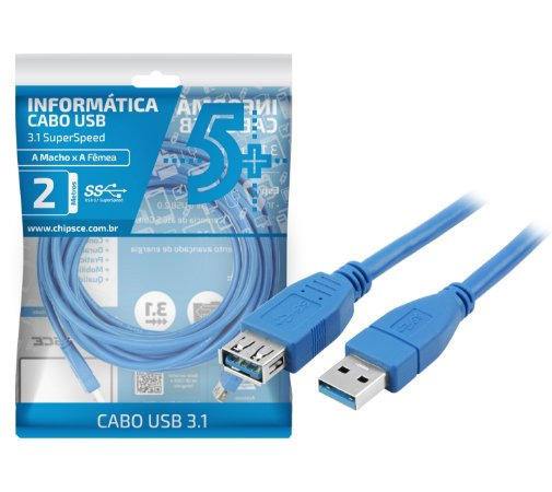 Cabo USB 3.0 Tipo A Macho x Fêmea 2 Metros  018-7702