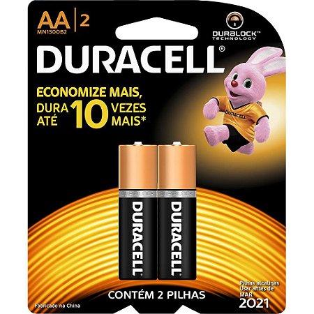 Pilha Duracell AA Alcalina Durablock - 2 Pilhas