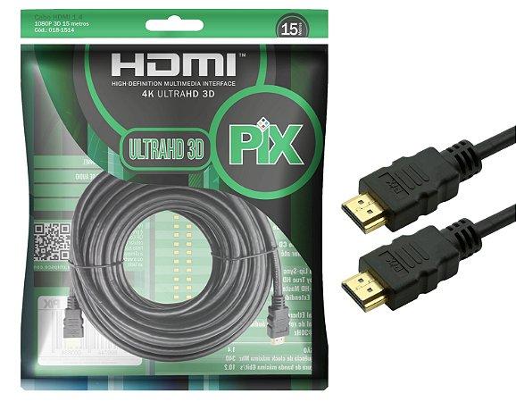 Cabo Hdmi 2.0 Pix 15 Metros 19 Pinos 4k Premium - Polibag